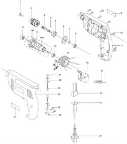 Корпус левая часть дрели Зубр ЗД-420-ЭР (рис.24) - фото 60935