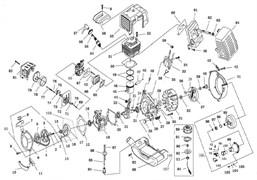 Стартер в сборе триммера Elitech T1250B (рис. 83)