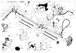 Редуктор в сборе триммера Elitech T1250B (рис. 13)