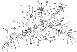 Двигатель в сборе триммера Ryobi RLT30 CD (рис. 59)