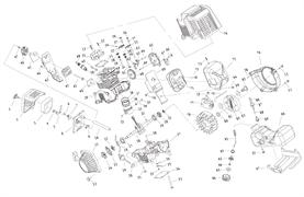 Верхняя часть картера с цилиндром триммера Калибр БК- 800/4М (рис. 39)
