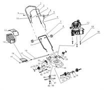 Ось передних колес бензиновой газонокосилки Энкор ГКБ 3,5/40 (рис.36)