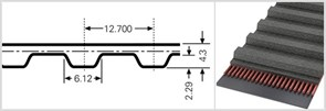 Зубчатый приводной ремень  600 Н, L=1524 mm