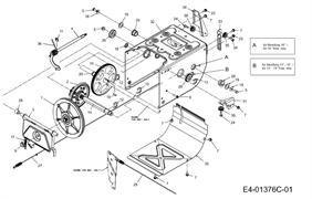 Вал фрикционного диска трансмиссии снегоуборщика wolf garten SF61E (31AW63F2650) (рис.14)
