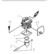 Прокладка цилиндра триммера Husqvarna 122L (рис 4)