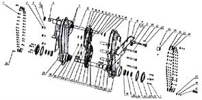 Блок звездочек третий мотоблока Кадви МБ-1Д1М (рис.42)