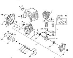 Корпус триммера Echo SRM-350ES (рис. 9) - фото 10010