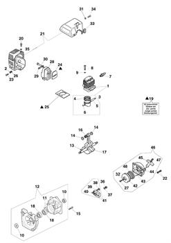Цилиндр и поршень в сборе триммера Efco Stark 40 (рис. 1) - фото 10418