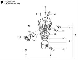 Поршневое кольцо бензопилы Husqvarna 395 / 395 EPA (рис.3)