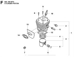 Подшипник игольчатый бензопилы Husqvarna 395 / 395 EPA (рис.6)
