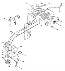 Вал головки редуктора триммера Fubag TE1100 (рис. 16)