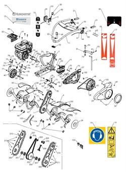Ремень культиватора Husqvarna TF434 (рис.48) - фото 10830