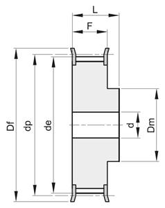 Шкив зубчатый под расточку 14M-40 F Z 32 St, BEA - фото 108361
