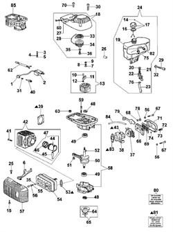 Бак топливный двигателя мотобура Oleo-Mac MTL 51 (рис.24)