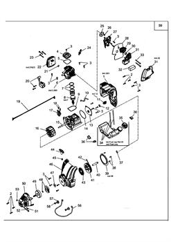 Двигатель в сборе триммера MTD 990 (рис. 59)