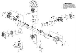 Цилиндр с поршнем в сборе триммера Partner BC 433L (рис. 7)