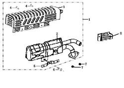 Глушитель в сборе культиватора Efco MZ 2050 R - MZ 2050 RX (рис. 1)