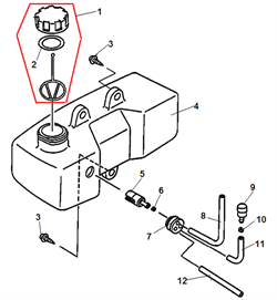 Топливный бак культиватора Echo TC 210 (рис. 4) - фото 15337