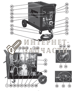 Передняя панель сварочного полуавтомат Telwin TELMIG 180/2 TURBO 649557