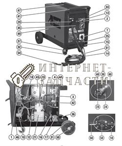Комплект трансформатора сварочного полуавтомат Telwin TELMIG 180/2 TURBO 990814