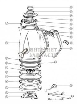 Нижняя крышка корпуса чайника  чайника Galaxy GL0201