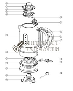 Нижний коннектор чайника Galaxy GL0315