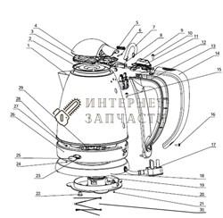 Корпус с нагревательным элементом чайника Galaxy GL0316