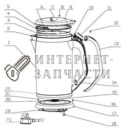 Пластиковый корпус чайника Galaxy GL0318