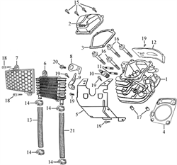 радиатор в сборе \ RADIATOR PARTS бензогенератора Elitech БЭС 12000 Е (рис.6,7,13,14,18)