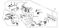 выключатель в сборе (остановка двигателя) бензогенератора Elitech БЭС 1800 (рис.9) - фото 22365