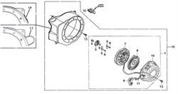 ручной стартер в сборе бензогенератора Elitech БЭС 1800 (рис.1)