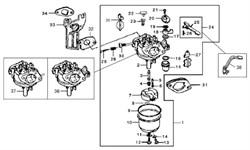 ограничительный болт прикрытия дроссельной заслонки бензогенератора Elitech БЭС 3000  (рис.30) - фото 23025