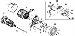 Альтернатор в сборе 660080196-0001 бензогенератора Elitech БЭС 3000 Р  (рис.22) - фото 23245