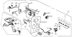 жгут электрических проводов в сборе E60150-198000 бензогенератора Elitech БЭС 3000 Р  (рис.2) - фото 23247