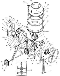 Колесо поворотное бетономешалки Elitech БС 120 (рис.6,1) - фото 23644