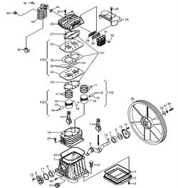 Поршневая группа, 4291140000 компрессора ременного ElitechКР100/АВ360/2.2 (рис.102) - фото 25248