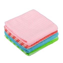 Набор салфеток из микрофибры 4 шт, 30x30см, 220г/кв.м., 4 цвета