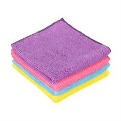 """Набор салфеток из микрофибры, универсальные 4 шт, """"Одноцвет"""", 30x30см, 4 цвета"""