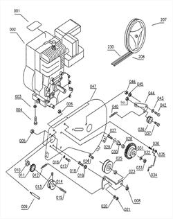 Ремень клиновой привода культиватора Elitech КБ 60Х (рис.208)