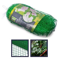 Сетка садовая для вьющихся растений, пластик, 2х5 м, зеленая, размер ячейки 15х15 см, 27х10х10