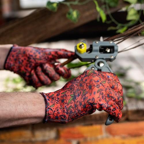 Перчатки садовые с нитриловым полуобливом, полиэстер, 9 размер, 23см, 31гр, цветные