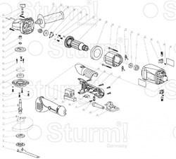 Шпонка ротора болгарки Sturm! AG9515D (рис. 27)