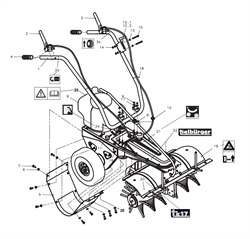 Трос с рычагом включения хода подметальной машины Tielbuerger TK17 (рис.3)
