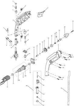 Корпус левая часть дрели Зубр ЗДУ-580-ЭР (рис.6) - фото 61015