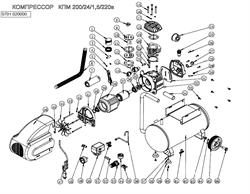 Болт Мбх15 с фланцем передней крышки картера масляного коаксиального компрессора ElitechКПМ 200/24 (рис.26) - фото 66689
