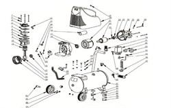 Крыльчатка вентилятора радиальная 120х6-2шпонки 2-посадки 15-лопастей безмасляного коаксильного компрессора ElitechКПБ 190 (рис.60) - фото 67000