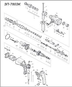 Щеточный узел перфоратора Зубр ЗП-780ЭК (рис.81) - фото 67192