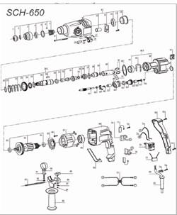 Корпус редуктора в сборе перфоратора Stayer SCH-650(рис.9C) - фото 67852