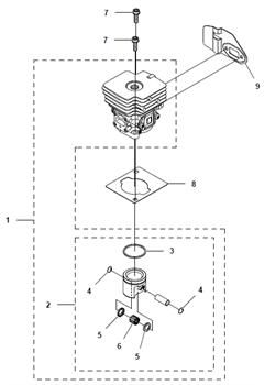 Прокладка цилиндра триммера Husqvarna 122LD (рис 8) - фото 7965