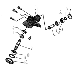 Вал редуктора триммера Husqvarna 122L (рис 9)